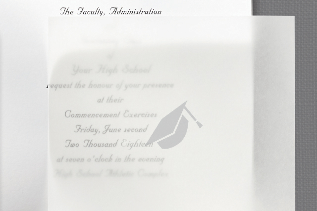 place the tissue overlay inside your assembled announcement - Jostens Graduation Invitations